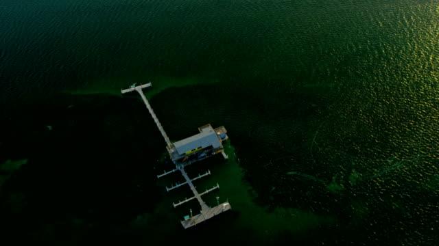 Aerial view Stiltsville shacks Biscayne Bay Miami Florida