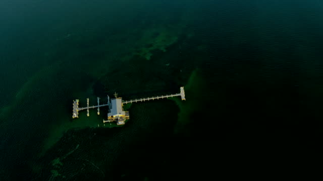 aerial view stiltsville shacks biscayne bay miami florida - biscayne bay stock videos & royalty-free footage