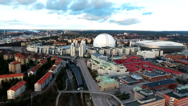 aerial view stockholm globe arena - eurovision song contest stock videos & royalty-free footage