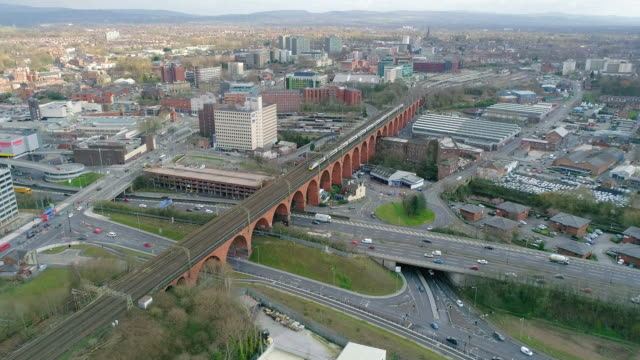 aerial view stockport viaduct intercity train crossing away from station - viaduct stock videos & royalty-free footage