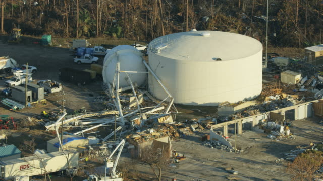 Aerial view storm damaged Mexico Beach Water Tower