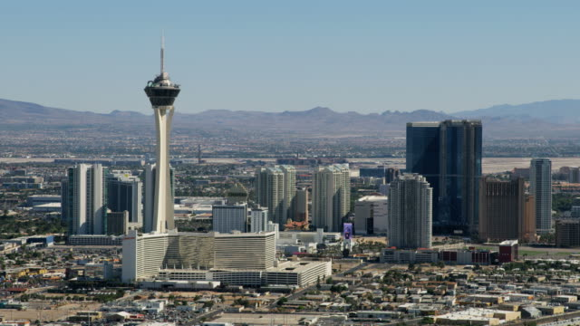 Aerial view Stratosphere Tower downtown Las Vegas