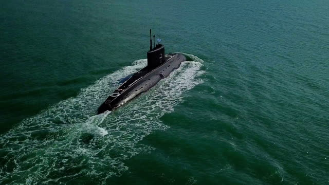 aerial view - submarine on the high seas - battleship stock videos & royalty-free footage