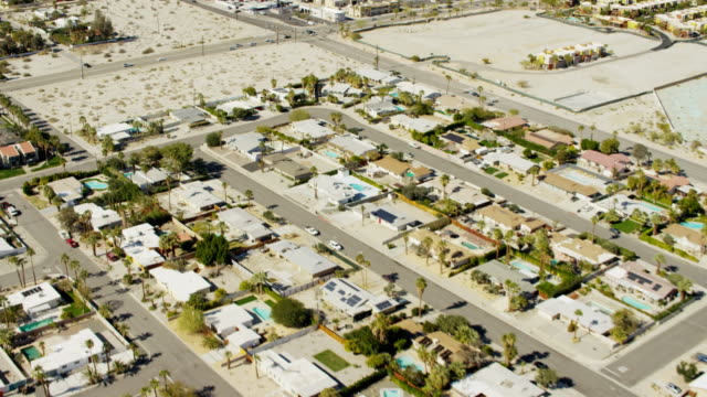 aerial view suburban homes and highways palm springs - palm springs california stock videos & royalty-free footage