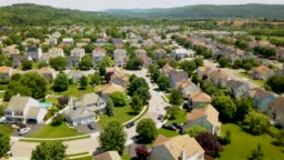 Aerial view Suburban Neighborhood 4K