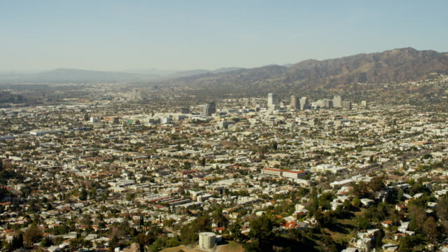 Aerial view suburbs and roads in Los Angeles