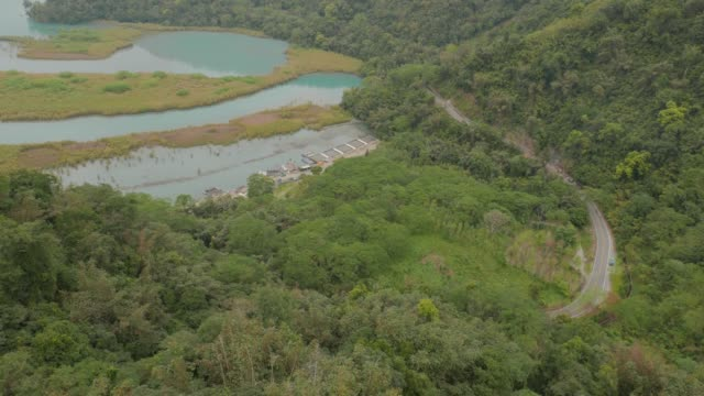aerial view, sun moon lake, taiwan - sun moon lake stock videos and b-roll footage