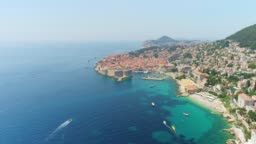 WS Aerial view sunny,scenic view of Dubrovnik,Croatia