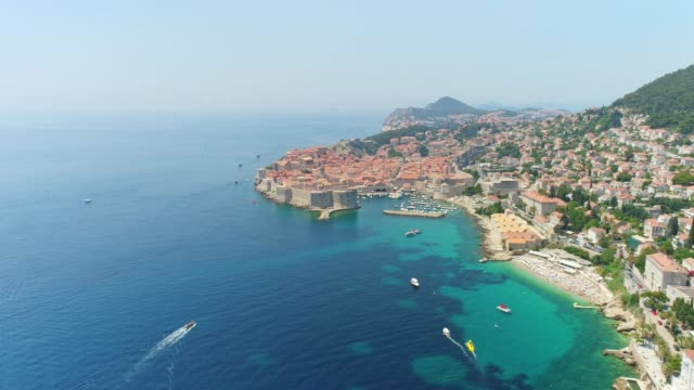 ws aerial view sunny,scenic view of dubrovnik,croatia - unesco world heritage site stock videos & royalty-free footage