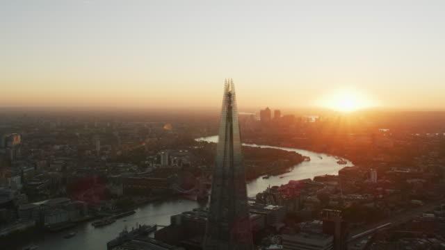 Aerial view sunrise over London city landmarks UK