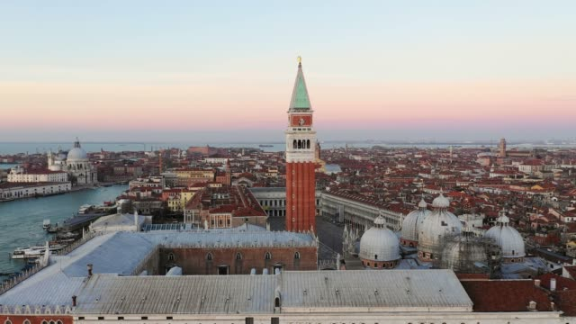 aerial view, sunrise over st mark's square, venice, italy - lagoon stock videos & royalty-free footage