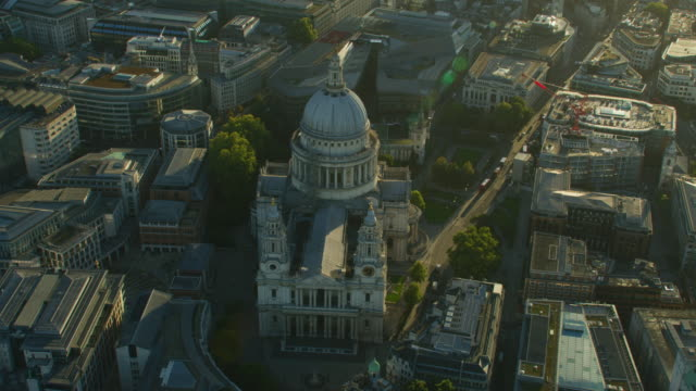 aerial view sunrise over st pauls cathedral london - st. paul's cathedral london stock videos & royalty-free footage