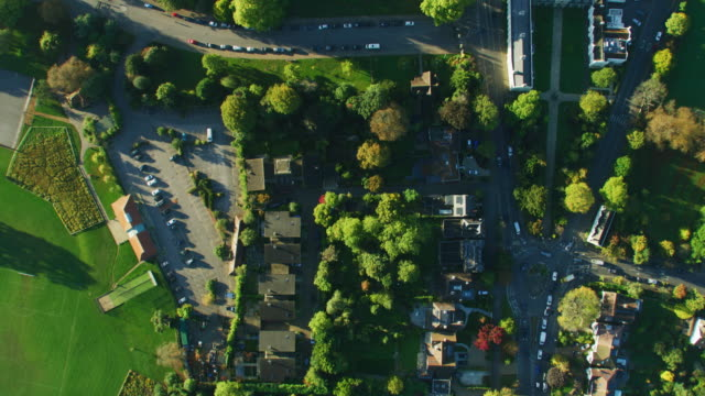 aerial view sunrise over suburban residential community london - twilight stock videos & royalty-free footage