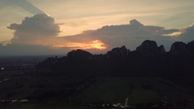 Aerial View Sunset and the Mountain peak
