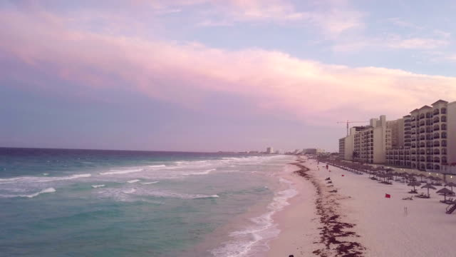 aerial view: sunset at the hotel district, cancun mexico - cancun stock videos & royalty-free footage
