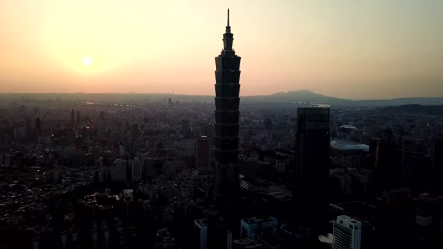 aerial view sunset of building  cityscape famous tower in city taipei, taiwan - taipei 101 stock videos & royalty-free footage
