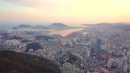 Aerial View sunset of Busan city cityscape South Korea