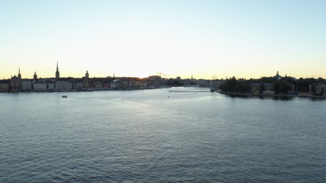 Aerial view, sunset over Stockholm