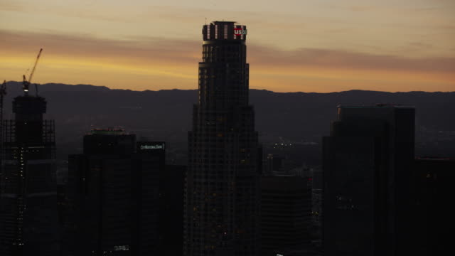 Aerial view sunset silhouette US Bank Los Angeles