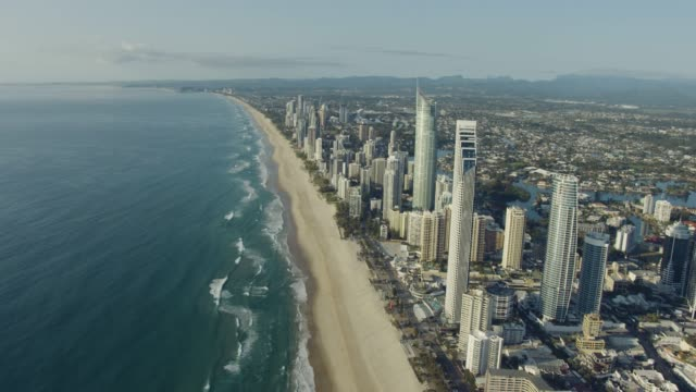 aerial view surfers paradise skyscrapers gold coast queensland - queensland stock videos & royalty-free footage