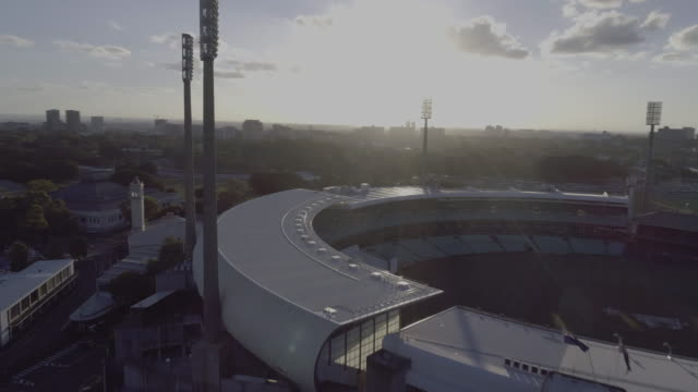 Aerial view swooping over the Sydney Cricket Ground roof. Sydney Australia