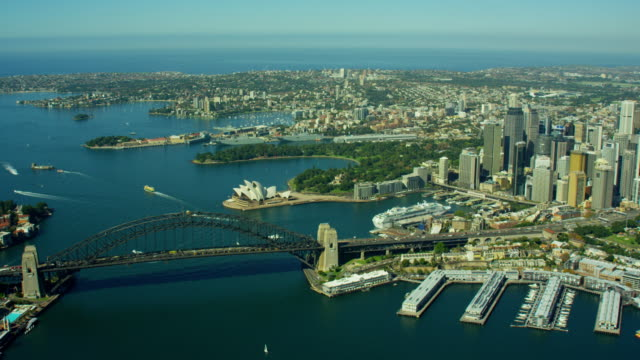 vídeos y material grabado en eventos de stock de aerial view sydney harbor bridge and opera house - sydney australia