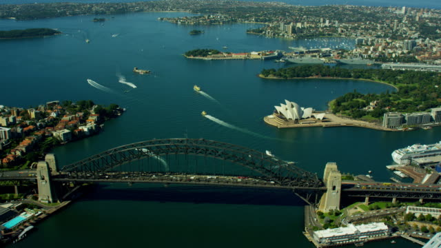 Aerial view Sydney Harbor Bridge and Opera House