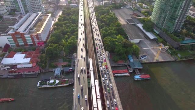 Aerial view :Taksin Bridge and Chaophaya River in Bangkok