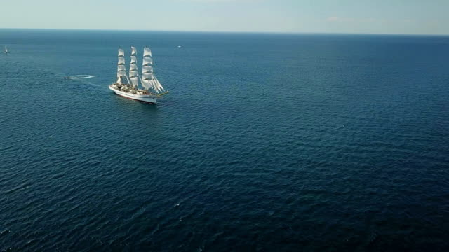aerial view - tall ship at sea - ancient stock videos & royalty-free footage