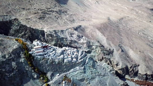 Aerial view temple on Himalayas mountain landscape near split of tectonic  at Nubra valley, Leh Ladak,Jammu & Kashmir, India