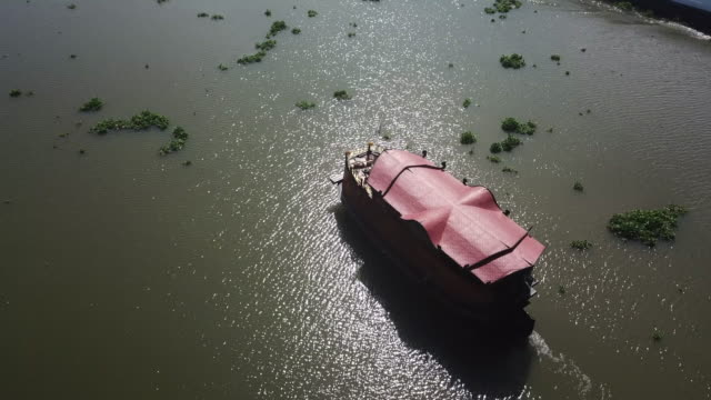 aerial view thai boat in the river - mekong delta stock videos & royalty-free footage