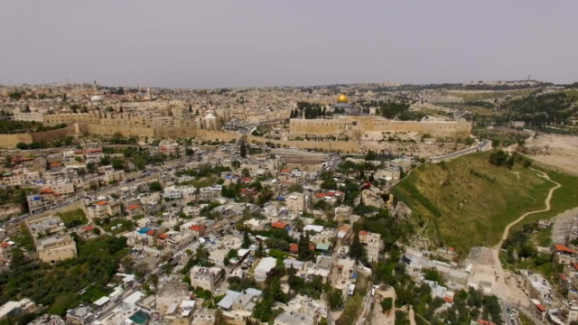 aerial view- the city of david , silwan arab village ,old city walls, and temple mount - jerusalem stock videos & royalty-free footage