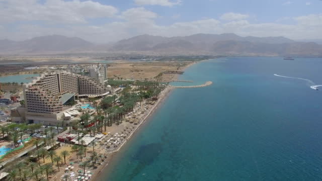Aerial view - The North beach of Eilat with Aquaba, Gulf of Eilat ,Marina and Hotels
