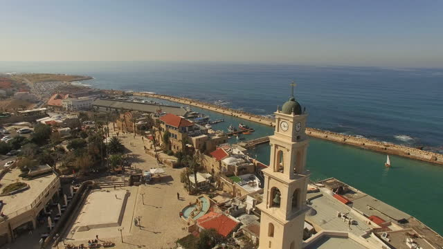 stockvideo's en b-roll-footage met aerial view -  the old city of jaffa and the skyline of tel aviv - jaffa