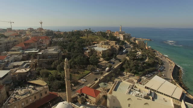 Aerial view -  the old city of Jaffa and the skyline of Tel Aviv