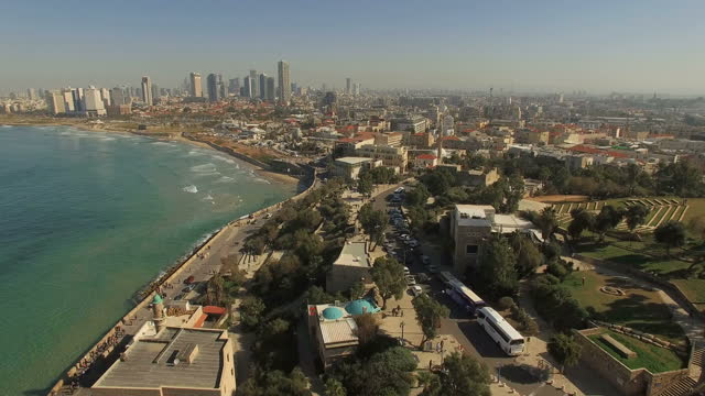 aerial view -  the old city of jaffa and the skyline of tel aviv - tel aviv stock videos & royalty-free footage