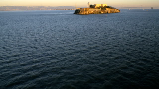 aerial view the rock alcatraz island san francisco - alcatraz island stock videos & royalty-free footage