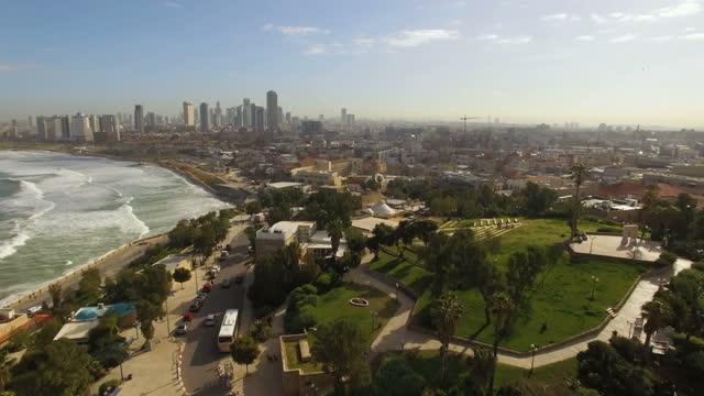aerial view - the skyline of tel aviv, jaffa with church & mosque - jaffa bildbanksvideor och videomaterial från bakom kulisserna