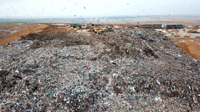 aerial view - thousands of black kites (milvus migrans) foraging on a huge rubbish dump while heavy vehicles and garbage trucks bring more garbage/ duda'im rubbish dump, southern israel - pollution stock videos & royalty-free footage