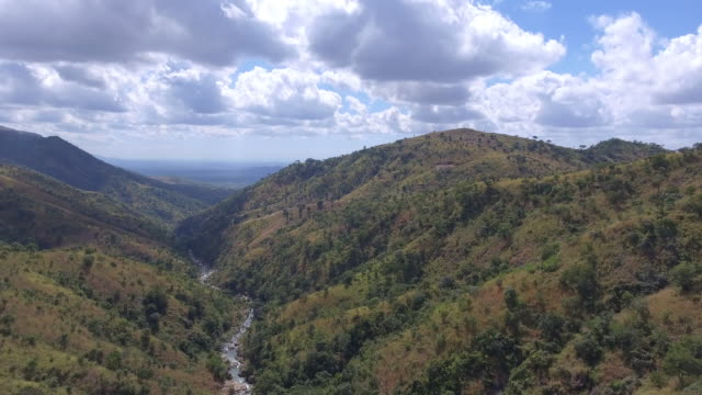 aerial view through a valley of malawi - malawi stock videos & royalty-free footage