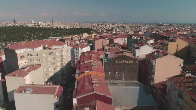 Aerial view through mosque spires Istanbul. Turkey.