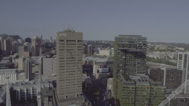 Aerial view through University of Technology Sydney and One Central Park building. Sydney Australia
