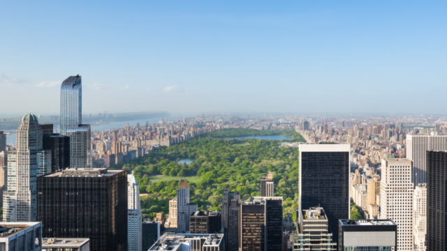 Aerial view, Time Lapse of Midtown Manhattan skyline and Central Park, Zoom out