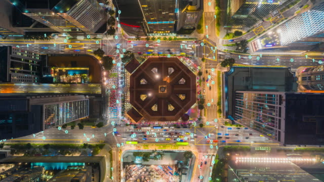 aerial view time lapse of singapore city  with network connections line.internet of things and smart city concept,technology-futuristic concept - smart city stock videos & royalty-free footage