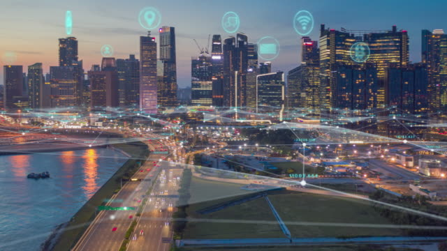 vídeos de stock e filmes b-roll de aerial view time lapse of singapore skyline with network connections line.internet of things and smart city concept,technology-futuristic concept - fibra ótica