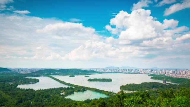 aerial view time lapse of west lake - hangzhou - hangzhou stock videos & royalty-free footage
