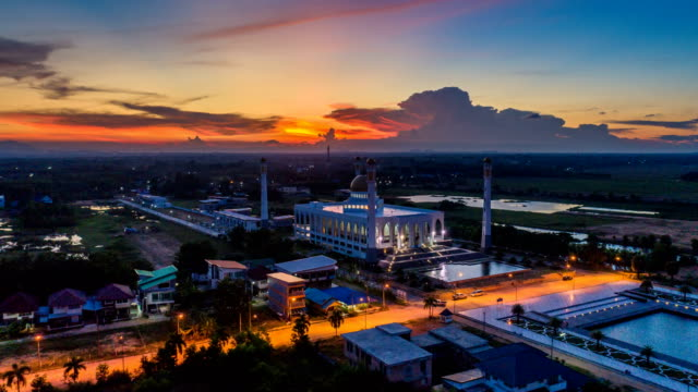 aerial view timelapse of beautiful sky of central songkhla mosque thailand - religious equipment stock videos & royalty-free footage