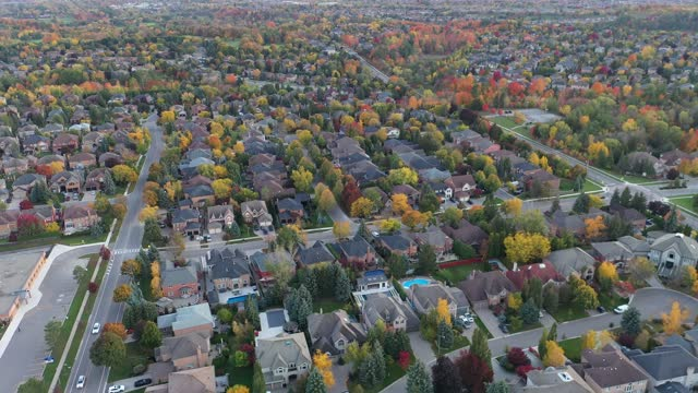 aerial view timelapse  of rutherford road and islington ave., detached and duplex house at woodbridge in vaughan, ontario, canada - ontario canada stock videos & royalty-free footage