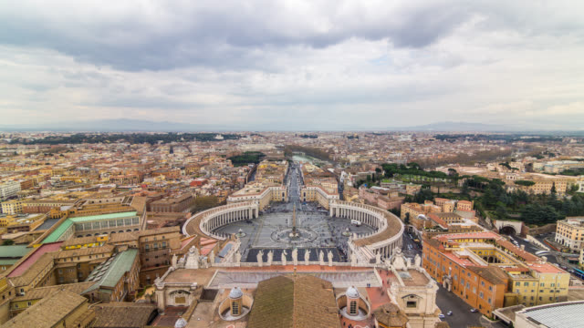 aerial view timelapse of the vatican saint peter's square from dome. rome, italy. april, 2016. - state of the vatican city stock videos & royalty-free footage