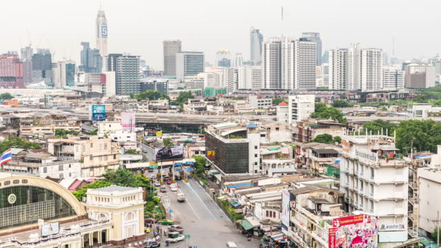 aerial view time-lapse of  traffic at bangkok central station - king of thailand stock videos and b-roll footage